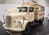 Historic Mercedes Benz Red Cross truck at the 65th IAA Commercial Vehicles Fair 2014 in Hannover, Germany — Zdjęcie stockowe