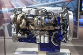 New VOLVO diesel engine D16 Euro 6 at the 65th IAA Commercial Vehicles Fair 2014 in Hannover, Germany — Stock Photo