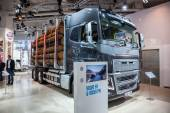 VOLVO FH16 logging truck at the 65th IAA Commercial Vehicles Fair 2014 in Hannover, Germany — Stock Photo