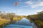Everglades waterway scenic view from an airboat — Stok fotoğraf