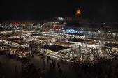 MARRAKESH, MOROCCO - NOV 20: Food stalls at the Jemaa el-Fnaa square in the medina quarter of Marrakesh at night. November 20, 2008 in Marrakesh, Morocco — Stock Photo