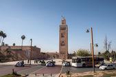 MARRAKESH, MOROCCO - NOV 21: Minaret of the ancient Koutoubia mosque in the city of Marrakesh. November 21, 2008 in Marrakesh, Morocco — Stock Photo