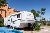 Semi trailer caravan  — Stock Photo
