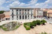 AVILA, SPAIN - JUN 26: Square with a fountain in the old town of Avila. June 26, 2014 in Avila, Castilla y Leon, Spain  — Stock Photo