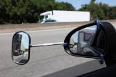 Rear view mirror with extension for driving with a trailer — Stock Photo