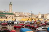 FEZ, MOROCCO - DEC 1: Square with red petit taxis in the medina of Fez. December 01, 2008 in Fez, Morocco, Africa — Stock Photo