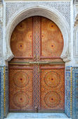 Beautiful decorated door in the medina of Fez, Morocco — Stock Photo