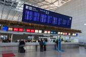 Departure board with destination airports in Frankfurt Main, Germany — Stock Photo