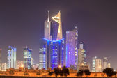 Skysrapers downtown in Kuwait City at night. December 8, 2014 in Kuwait, Middle East — Stock Photo