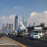 DUBAI, UAE - DEC 18: Traffic on the Sheikh Zayed Road in Dubai City. December 18, 2014 in Dubai, United Arab Emirates — Stock Photo #64383781