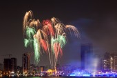 Fireworks display in Sharjah City, United Arab Emirates — Stock Photo