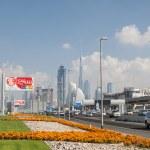 DUBAI, UAE - DEC 18: Sheikh Zayed Road in Dubai City. December 18, 2014 in Dubai, United Arab Emirates — Stock Photo #65638761