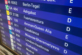 FRANKFURT MAIN - DEC 6: Departure board with destination airports in Frankfurt Main. December 6, 2014 in Frankfurt Main, Germany — Stock Photo
