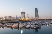 Souk Sharq Marina and Kuwait City at dusk, Middle East, Arabia — Stockfoto