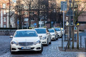 MUNSTER, GERMANY- APR 4: Mercedes Benz E-Class Taxi Cabs at taxi rank in Muster. April 4, 2015 in Munster, Germany — Stock Photo