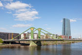 FRANKFURT MAIN, GERMANY - APR 18: Floesser bridge over river Main and the new European Central Bank (ECB) in Frankfurt. April 18, 2015 in Frankfurt Main, Germany — Stock Photo