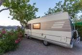 Mobile home on a camping site in Spain — Stock Photo