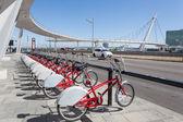 Rental bikes in Zaragoza, Spain — Stock Photo