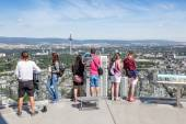 Visitors at the top of Main Tower in Frankfurt, Germany — Stock Photo