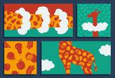 抽象的なキリンとフルーツ — ストックベクタ