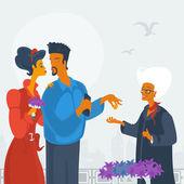 Lovers buy flowers — Stock Vector