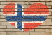 Heart shape flag of norway on brick wall — Stock Photo