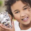 Girl Child Piggy Savings Money Bank — Stock Photo #53972539