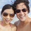 Asian Couple at Beach Taking Selfie Photograph — Stock Photo #53972893