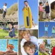Montage Happy Active Children Playing — Stock Photo #53973829