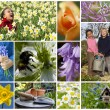 Children Playing Spring Garden Flowers Montage — Stock Photo #53974031