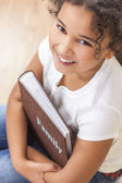 African American Girl Child Book Photo Album — Stock Photo