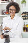 Mixed Race African American Girl Making Coffee — Stock Photo