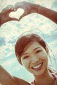 Chinese Asian Woman Girl Hand Heart Finger Frame — Stock Photo