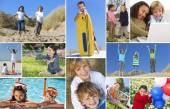 Montage Happy Active Children Playing — Stock Photo