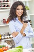 Woman Drinking Red Wine in Home Kitchen — Stock Photo