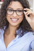 Woman Girl Wearing Geek Glasses — Foto de Stock