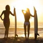 Beautiful Bikini Surfer Women Girls Surfboards Sunset Beach — Stock Photo #54668303