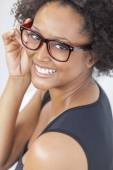 Mixed Race African American Girl Wearing Glasses — Stok fotoğraf