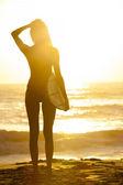 Woman Bikini Surfer & Surfboard Sunset Beach — Stock Photo