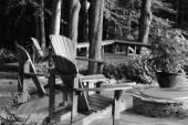 Adirondack Chairs in Deep Woods — Stock Photo