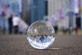 Crystall ball view of Darling Harbour — Stock Photo