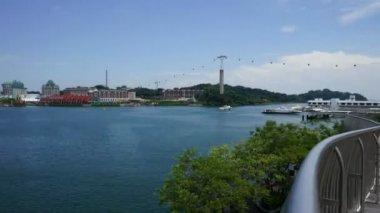 Panoramic Timelapse of Sentosa island from Vivocity, Singapore — Stock Video