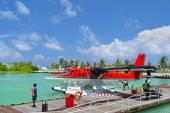 Seaplanes in Maldives seaport — Stock Photo