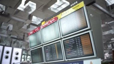 Interior of Singapore Changi Airport with Signages — Stock Video