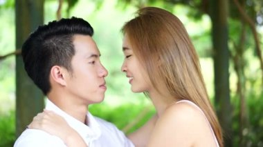 Asian couple dating outdoors in a park — Stock Video