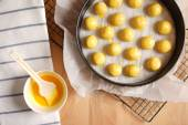 Top view of a kitchen with baking equipment — Stock Photo