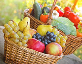 Fresh organic seasonal fruits and vegetables in wicker baskets — Stock Photo