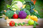 Fresh organic vegetables in crates — Stock Photo