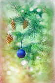 Blue bauble on Christmas tree (xmas ball) and Christmas light — Stock Photo