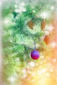 Blue bauble on Christmas tree (xmas ball) and Christmas light — 图库照片